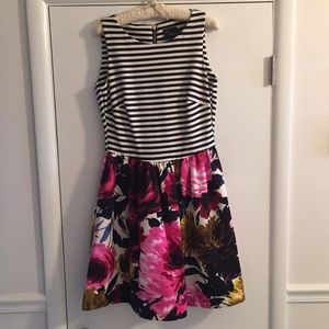 EUC Taylor floral and stripe dress